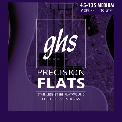 GHS Bass 45-105 Flatwound, Long+, 4 Strings Bass Strings