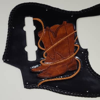 """leather pick guard hand tooled Fender Jazz  2017  """"Boots""""  Black/ brown laced"""