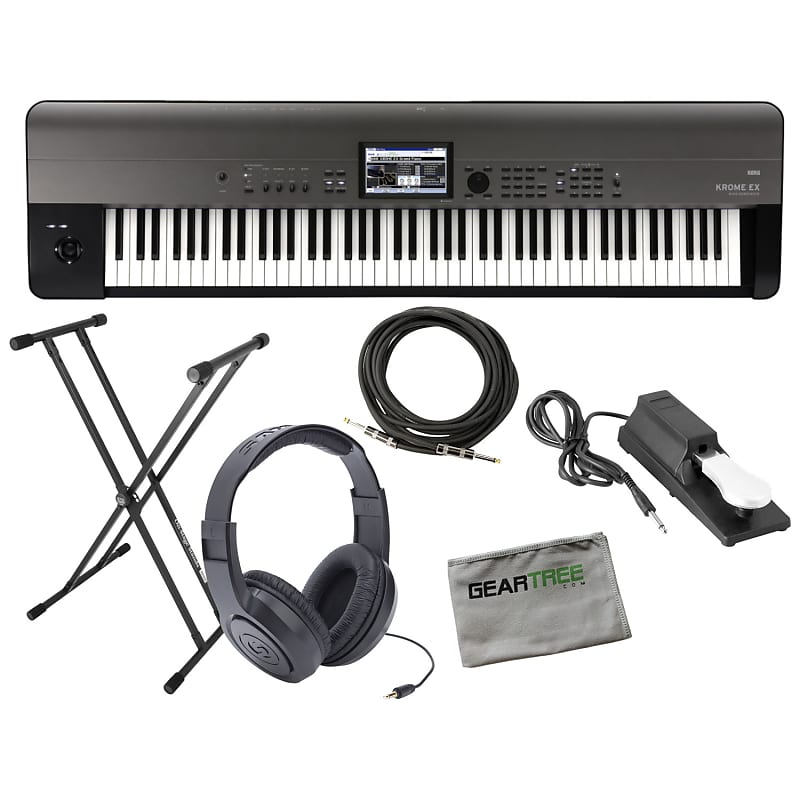 Korg KROMEEX88 Krome Music Workstation w/ Sustain Pedal, Stand, Headphones,  Cable, Cloth