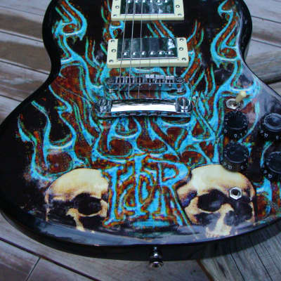 Melody musical instruments SG Copy guitar  w/ Skull flames graphics for sale
