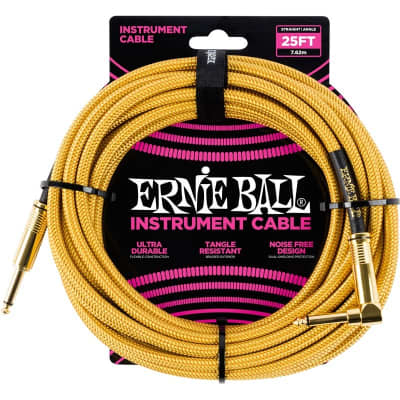 Ernie Ball 6070 Braided Instrument Cable, 25ft/7.6m, Gold for sale