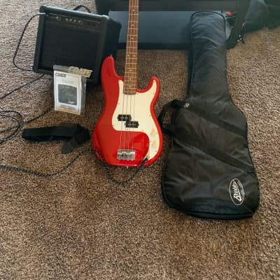 Fender Squire P Bass Unsure  Red finish/White fingerboard