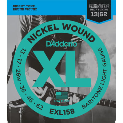 D'Addario EXL158 Nickel Wound Baritone Electric Guitar Strings, Light Gauge