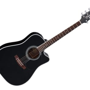 Takamine Pro Series Dreadnought Acoustic Guitar w/ Hardshell Case - Gloss Black/Rosewood - EF341SC for sale
