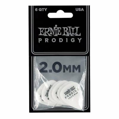 Ernie Ball Prodigy Guitar Picks, White, 2.0 mm