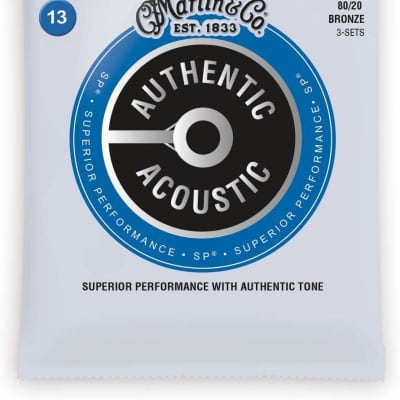 Martin MA150PK3 Authentic Acoustic Strings 3-Pack, Medium, 80/20