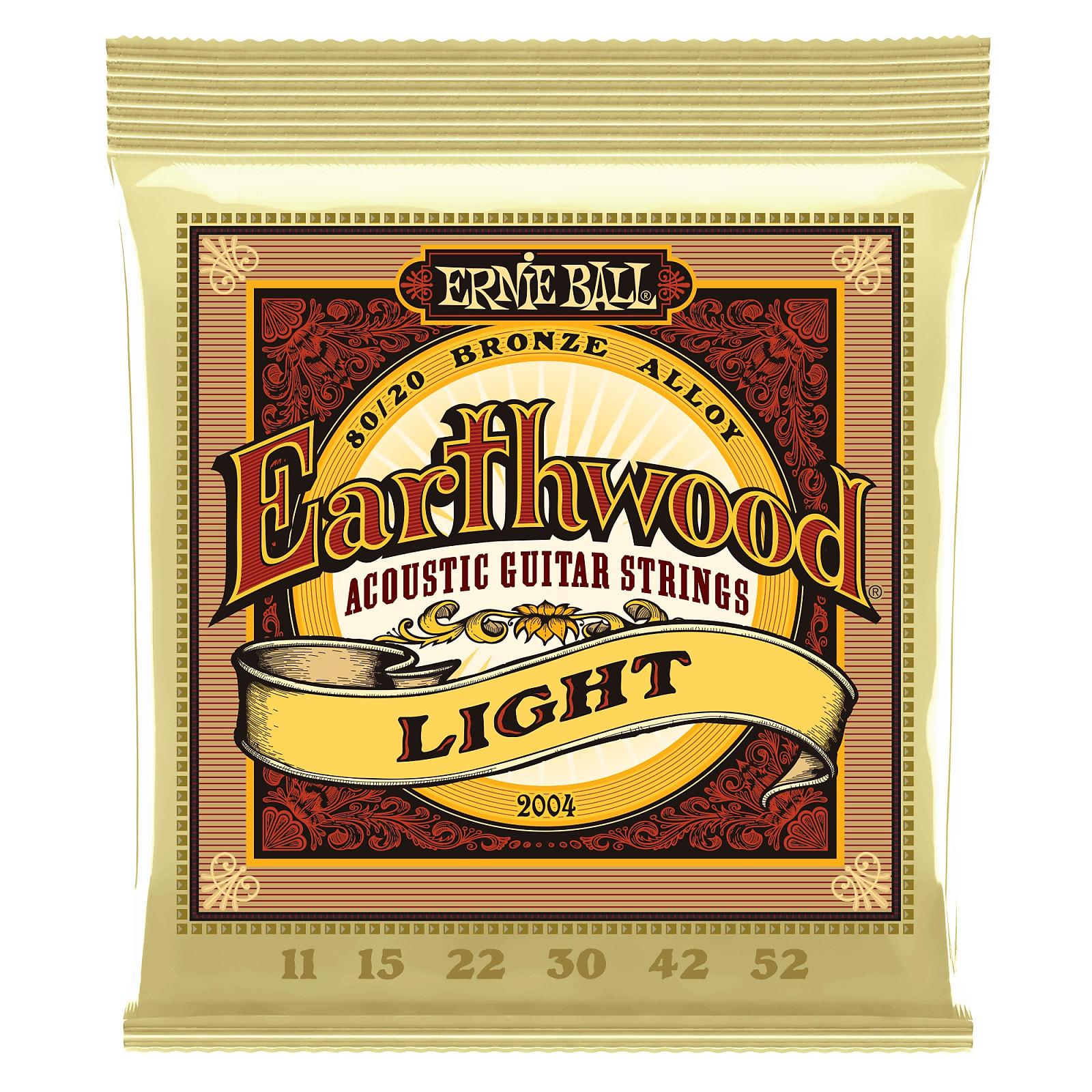 Ernie Ball Earthwood Light 80/20 Bronze Acoustic Guitar Strings - 11-52 Gauge