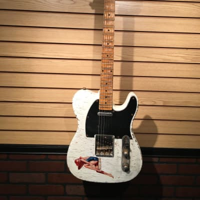 Indiana Indy T-Style Relic Electric Guitar White with Pinup Sticker for sale
