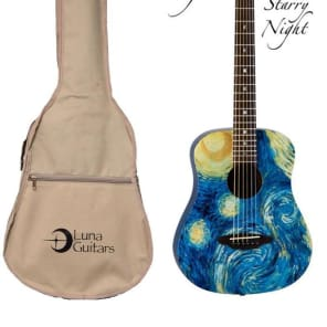 Luna SAFSTR Safari Starry Night 3/4 Acoustic Guitar for sale