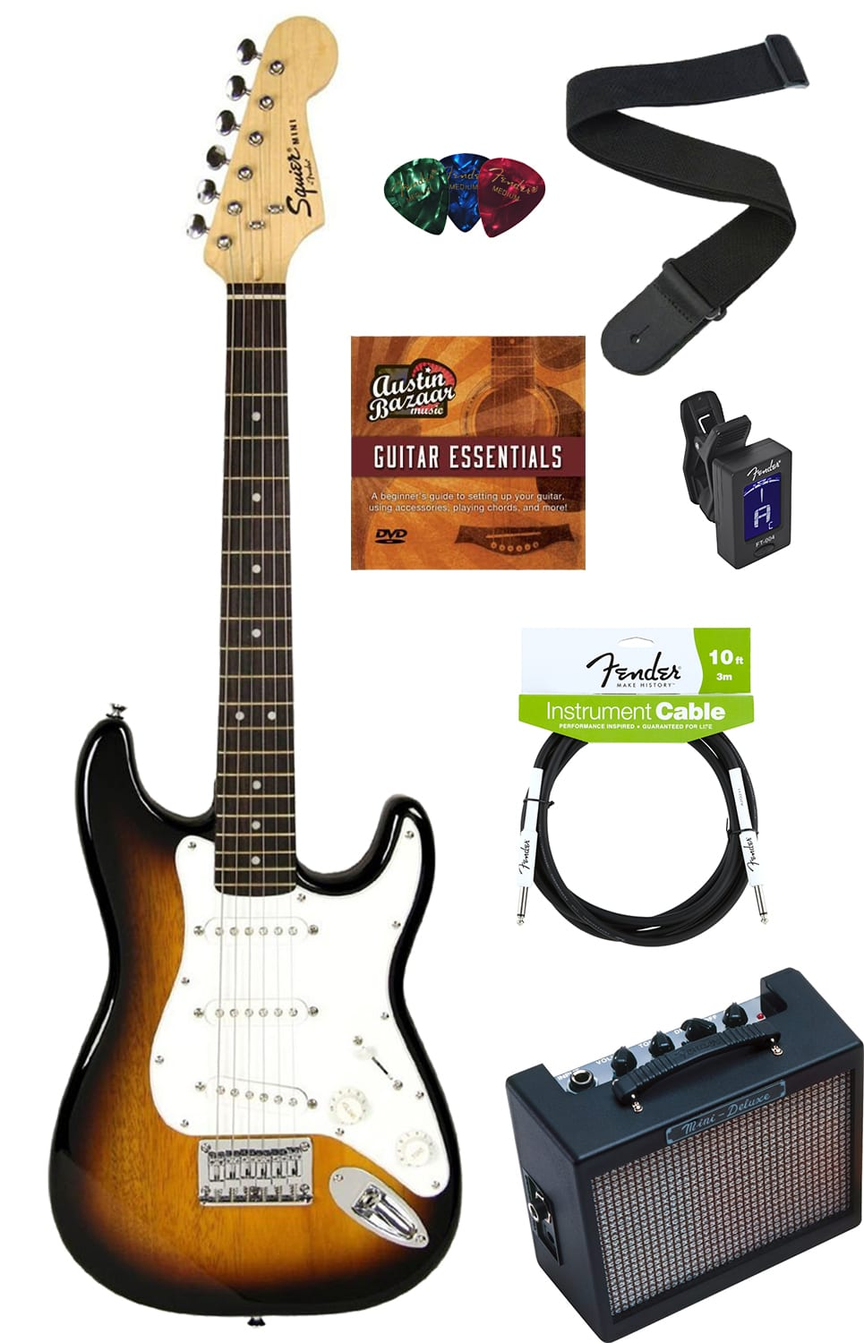squier by fender mini strat electric guitar sunburst w amp reverb. Black Bedroom Furniture Sets. Home Design Ideas