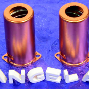 Two Copper Finished Aluminum Medium Nine Pin J-Slot/Bayonet Spring Loaded Tube Shields For 12AX7A