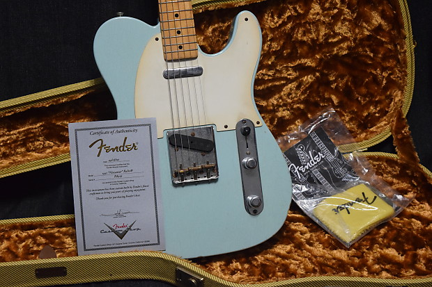 fender custom shop 51 nocaster relic 2009 aged sonic blue usa