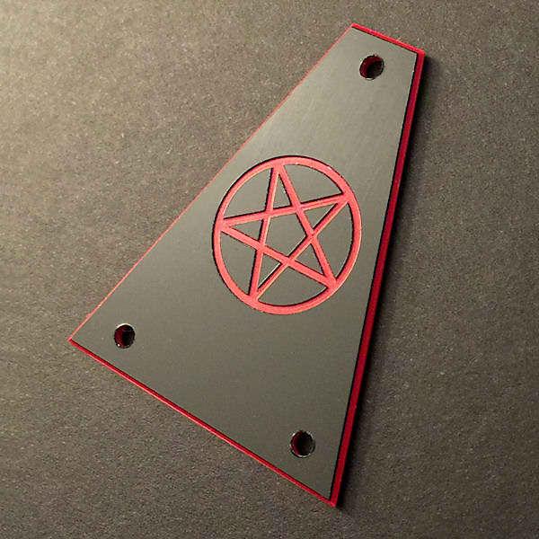 GUITAR TRUSS ROD COVER JACKSON BLACK RED Custom Engraved PENTAGRAM 666