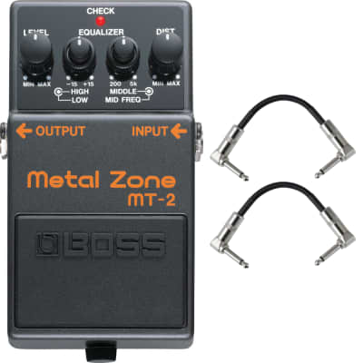 Boss MT-2 Metal Zone Distortion Guitar Effects Pedal Stompbox + Patch Cables