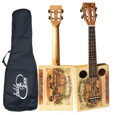 Eddy Finn EF-CGBX-1 Spruce Top Maple Neck Concert Size Cigar Box Ukulele with Gig Bag for sale