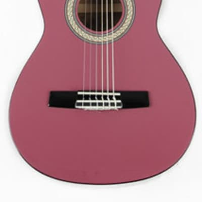 Omega 1/2 Size (34 inch) Left Handed Nylon String Classical Acoustic Guitar Package Metallic Pink for sale