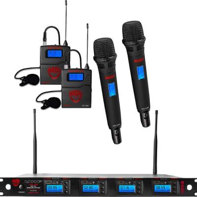Nady 4W-1KU HT-LT Quad True Diversity 1000-Channel UHF Wireless Handheld / Lavalier Microphone System