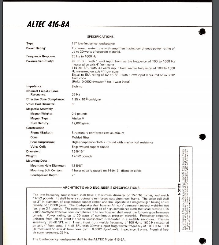 Altec Model 15 Specs