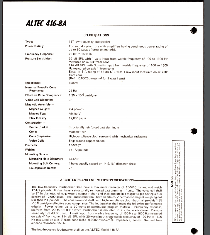 Vintage ALTEC Lansing (416-8A) 15