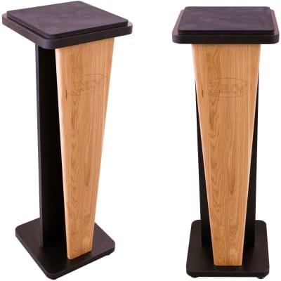 "Zaor Croce 36"" Fixed Speaker Stands Pair - Oak Black"