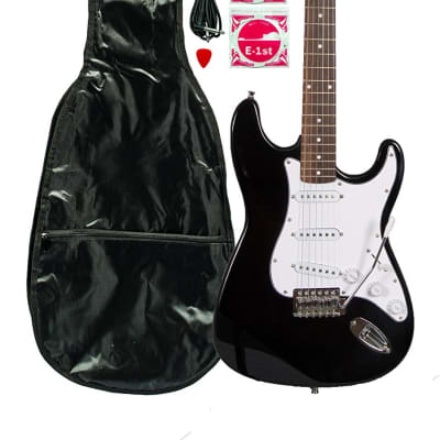 Huntington GE139-BK Outlaw Solid Body S-Type Electric Guitar w/Gig Bag, Strap, Cable, Bar & Strings
