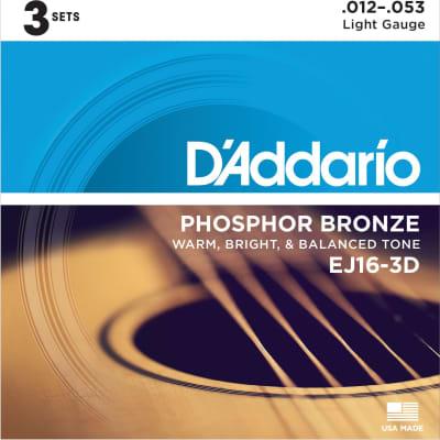 D'ADDARIO PHOSPHOR BRONZE ACOUSTIC GUITAR STRINGS LIGHT .012-.053 3 PACK for sale