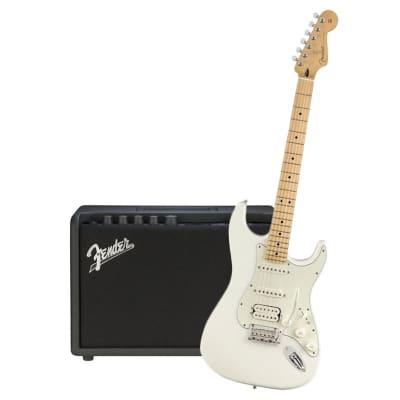 Fender Player Stratocaster HSS Polar White Maple Neck & Fender Mustang GT 40 Bundle for sale