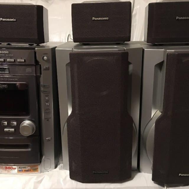 Panasonic SA-DK20 Grey and black bookshelf surround sound system sub, tuner, CD changer, tape image