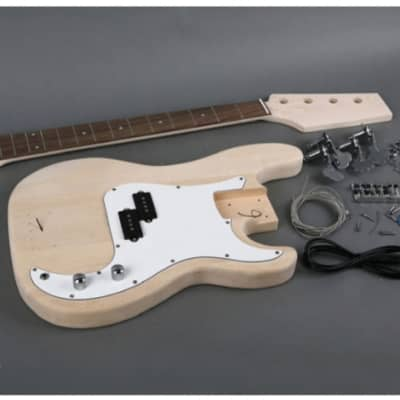 Unbranded P Bass Electric Bass Guitar DIY Kit Natural Unfinished