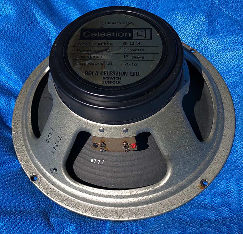 Vintage ROLA CELESTION G12M 25w Blackback SPEAKER 16 OHMS