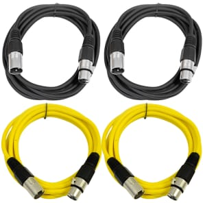 Seismic Audio SAXLX-10-2BLACK2YELLOW XLR Male to XLR Female Patch Cables - 10' (4-Pack)