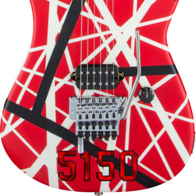 EVH Striped Series 5150 Red with Black and White Stripes for sale