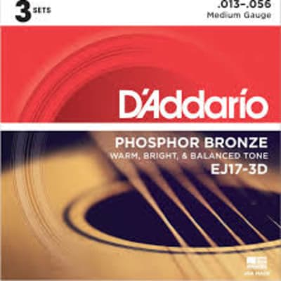 D'Addario EJ17-3D Phosphor Bronze Acoustic Guitar Strings, Medium, .13-.56 3 Sets