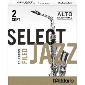 Rico RSF10ASX2S Select Jazz Alto Saxophone Reeds, Filed - Strength 2 Soft (10-Pack)