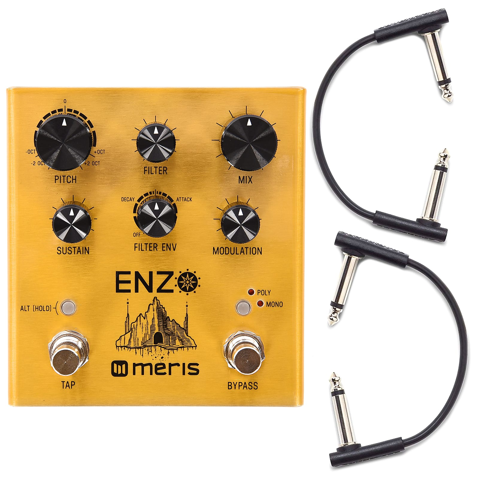 Meris Enzo Multi-Voice Synthesizer Pedal w/RockBoard Flat Patch Cables Bundle