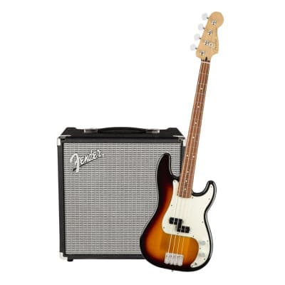 Fender Player Precision Bass 3 Tone Sunburst Pau Ferro & Fender Rumble 25 Bundle for sale