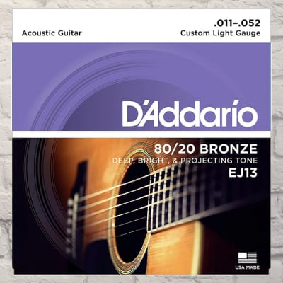 D'Addario EJ13 Custom Light 80/20 Bronze Acoustic Strings 11-52