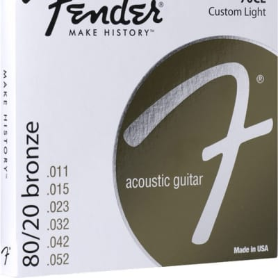 Fender® 80/20 Bronze Acoustic Strings, Ball End, 70CL .011-.052 Gauges, (6) - Default title
