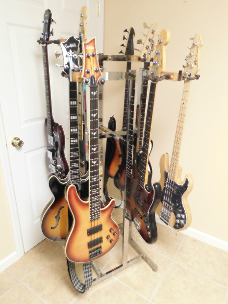 Multiple Guitar Stand Or Rack Custom Chrome Holds 8 Guitars Unique