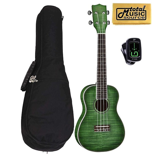 Dean Guitars Ukulele Travel Uke: Dean Guitars Flame Maple Concert Ukulele, Trans Green