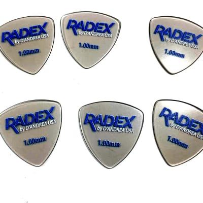 D'Andrea Guitar Picks  6 Pack Radex  346 Rounded Tri Shape  1.00mm