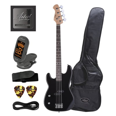 Artist PB2L Left Hand Black Electric Bass Guitar with Accessories for sale