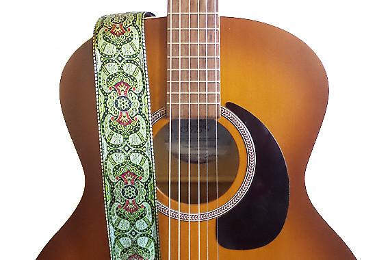 feedback green paisleys hemp guitar strap feedback straps reverb. Black Bedroom Furniture Sets. Home Design Ideas