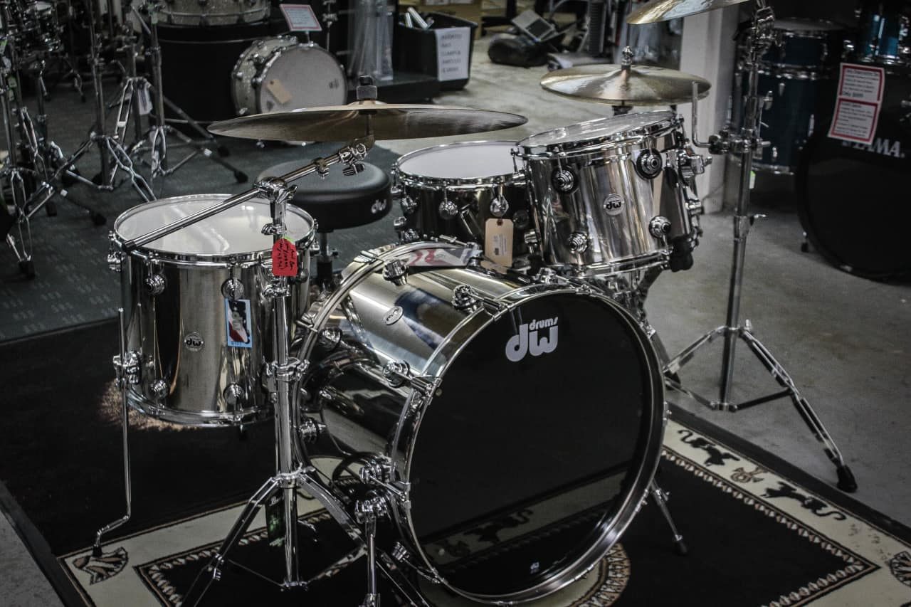 dw collectors series stainless steel 3 piece drum set