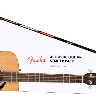 Fender acoustic guitar package deal FA-115 Dreadnought Pack, Natural, with case,  picks, strings etc