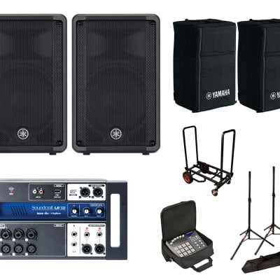 2x Yamaha DBR10 w/ Covers + Soundcraft Ui12 w/ Bag + Stands + Cart image