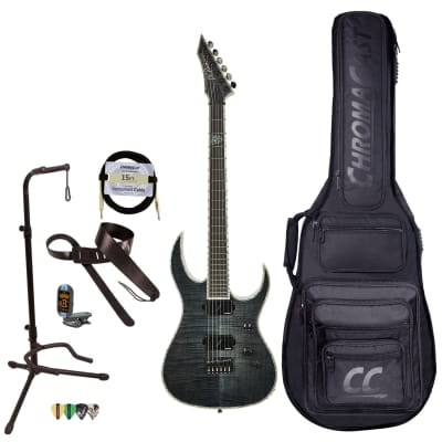 BC Rich Guitars Shredzilla Extreme Electric Guitar with Hipshot, Case, Strap, and Stand, Trans Black Satin Flame for sale