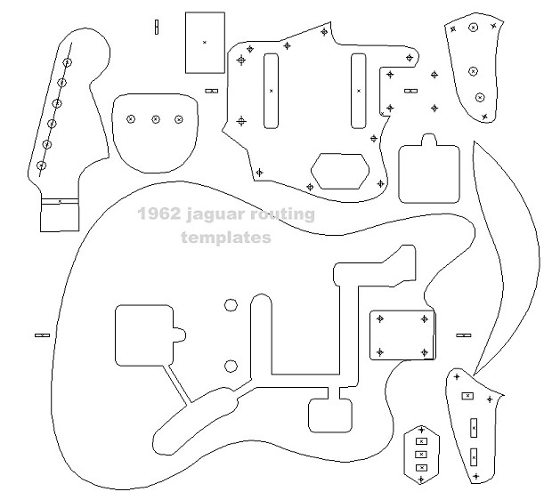 Fender \'62 Jaguar blueprint ,routing template, guitar | Reverb