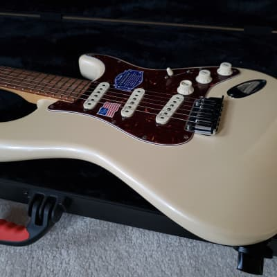 Fender American Deluxe Stratocaster SSS 2014 Olympic Pearl 60th Anniversary Edition for sale