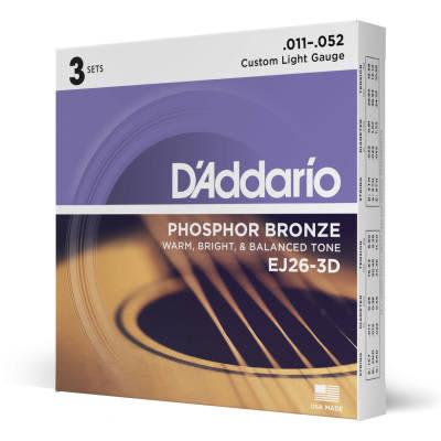 D'Addario #EJ26-3D - Custom Light Gauge Phosphur Bronze Acoustic Strings, 11-52, 3Pk